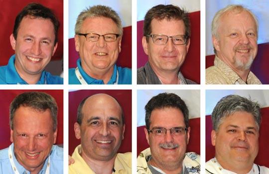 (Top row from left) Vince Anewenter, Derek Ellis, Andrew Graves, Steven Kossett. (Bottom row from left) Stefan Ritt, Harold Sears, Ed Tackett, and Mark Wynn.
